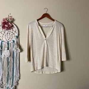 Madewell Heathered Draped Henley Top Size XS
